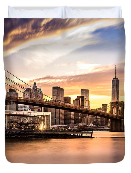 Brooklyn Bridge At Sunset  Duvet Cover