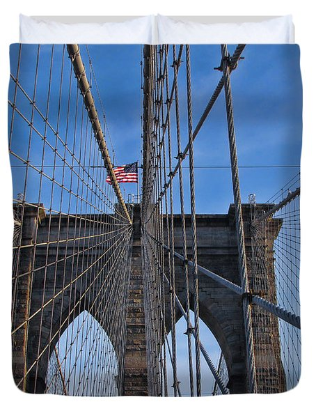 Duvet Cover featuring the photograph Brooklyn Bridge by David Gleeson