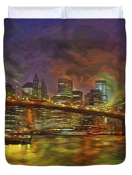 Brooklyn Bridge Impressionism Duvet Cover