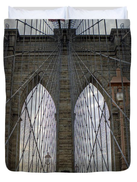 Duvet Cover featuring the photograph Brooklyn Bridge by Jerry Gammon