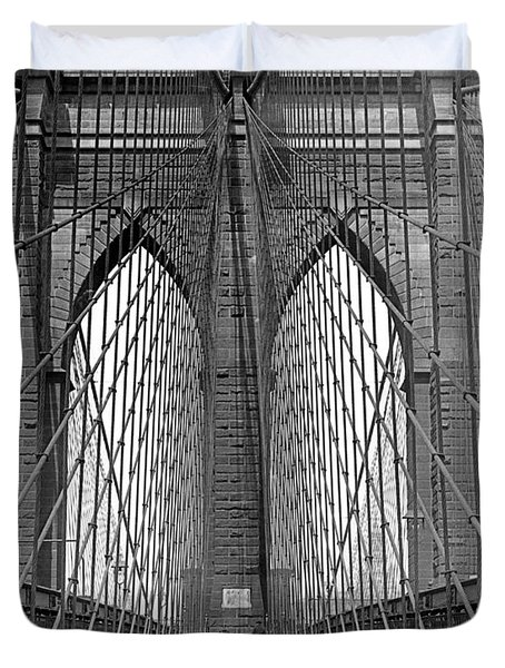 Brooklyn Bridge Promenade Duvet Cover