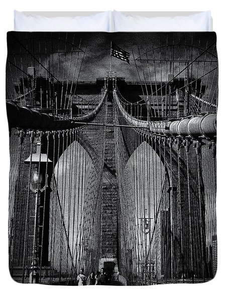 Brooklyn Bridge Up Close New York City Duvet Cover
