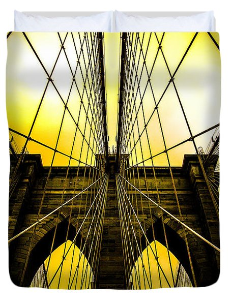 Brooklyn Bridge Yellow Duvet Cover by Az Jackson