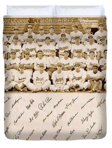 Brooklyn Dodgers Baseball Team Duvet Cover by Bellesouth Studio