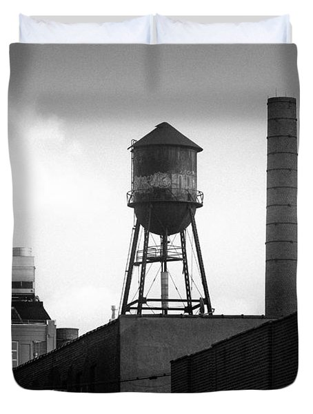 Duvet Cover featuring the photograph Brooklyn Water Tower And Smokestack - Black And White Industrial Chic by Gary Heller