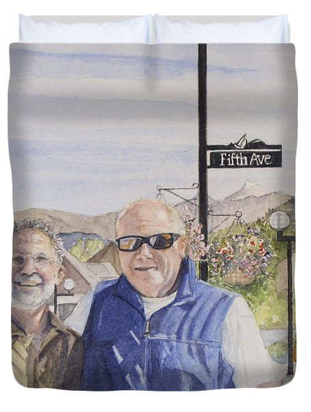 Duvet Cover featuring the painting Bros by Carol Flagg