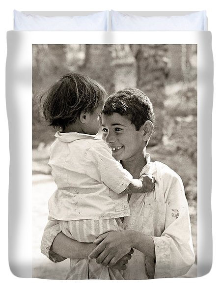 Duvet Cover featuring the photograph Brothers by Tina Manley