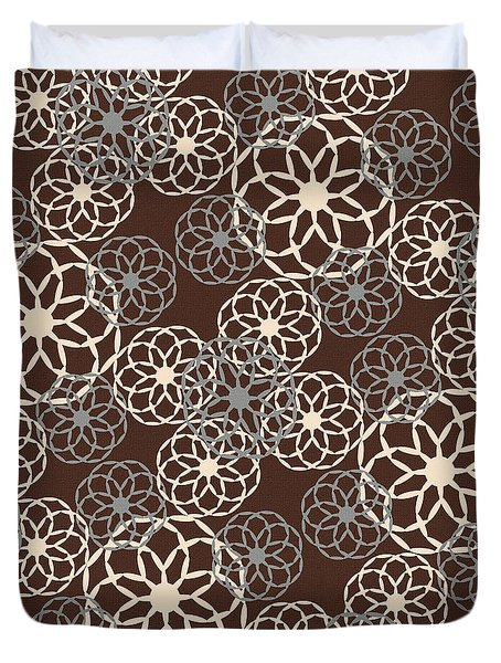 Brown And Silver Floral Pattern Duvet Cover