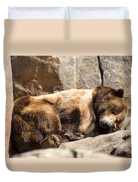 Brown Bear Asleep Again Duvet Cover by Chris Flees