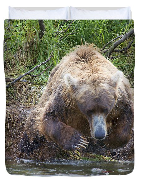 Brown Bear Diving Into The Water After The Salmon Duvet Cover by Dan Friend