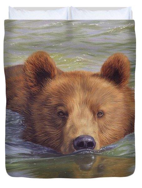 Brown Bear Painting Duvet Cover by David Stribbling
