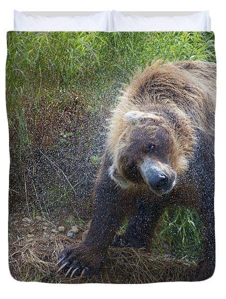 Brown Bear Shaking Water Off After An Unsucessful Salmon Dive Duvet Cover by Dan Friend