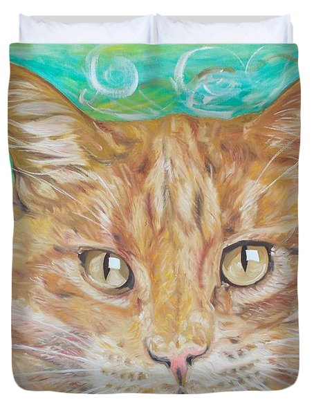 Brown Cat Duvet Cover by PainterArtist FINs husband Maestro