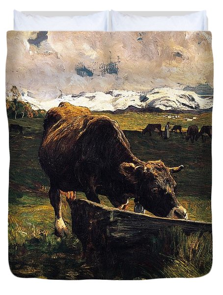 Brown Cow At Trough  Duvet Cover by Giovanni Segantini