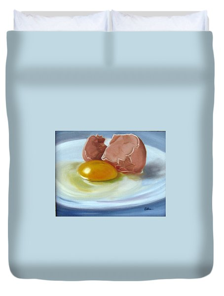 Duvet Cover featuring the painting Brown Egg Study by LaVonne Hand