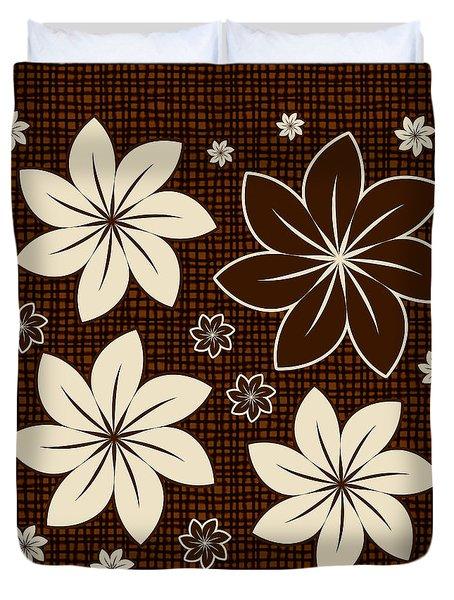 Brown Floral Design Duvet Cover by Gaspar Avila
