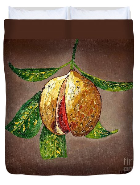 Duvet Cover featuring the painting Brown Glow Nutmeg by Laura Forde