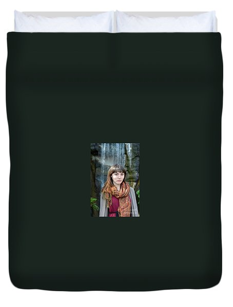Brown Haired And Freckle Faced Natural Beauty Model II Duvet Cover by Jim Fitzpatrick