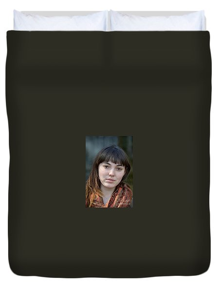 Brown Haired And Freckle Faced Natural Beauty Model IIi Duvet Cover by Jim Fitzpatrick