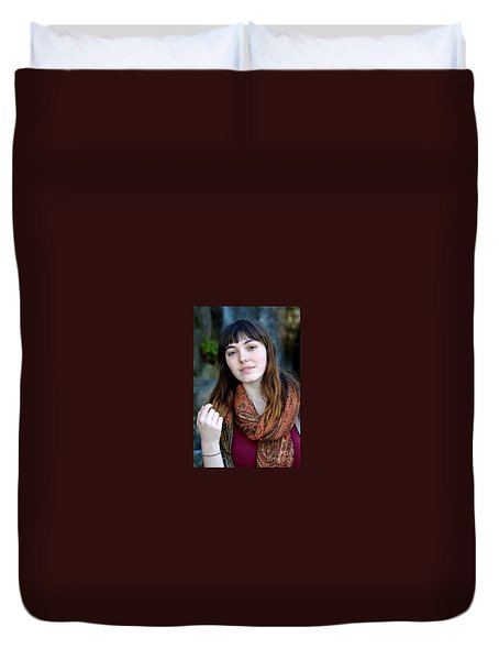 Duvet Cover featuring the photograph Brown Haired And Freckle Faced Natural Beauty Model Ix by Jim Fitzpatrick