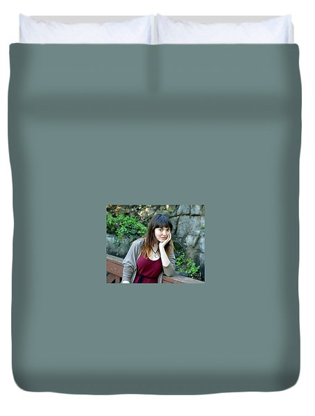 Brown Haired And Freckle Faced Natural Beauty Model  Duvet Cover by Jim Fitzpatrick