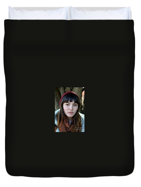 Brown Haired And Freckle Faced Natural Beauty Model V Duvet Cover by Jim Fitzpatrick