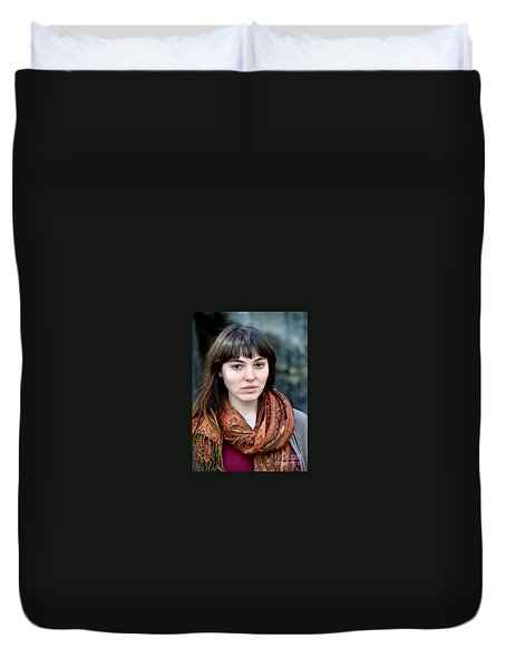 Duvet Cover featuring the photograph Brown Haired And Freckle Faced Natural Beauty Model Viii by Jim Fitzpatrick