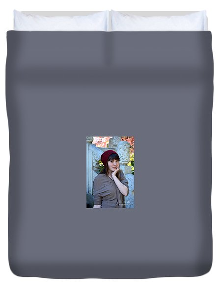 Brown Haired And Freckle Faced Natural Beauty Model X Duvet Cover by Jim Fitzpatrick