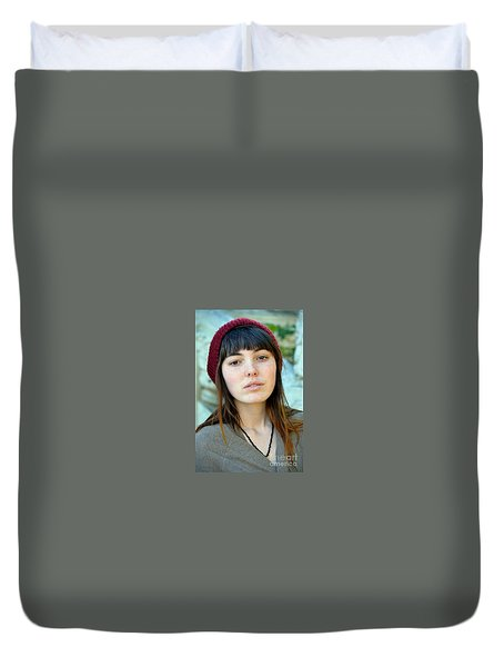 Brown Haired And Freckle Faced Natural Beauty Model Xi Duvet Cover by Jim Fitzpatrick