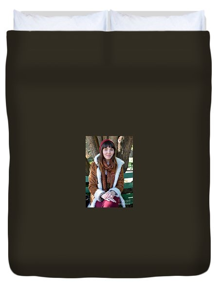 Brown Haired And Freckle Faced Natural Beauty Model Xiii Duvet Cover by Jim Fitzpatrick