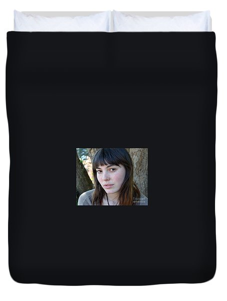 Duvet Cover featuring the photograph Brown Haired And Freckle Faced Natural Beauty Model Xiv by Jim Fitzpatrick