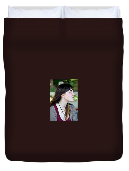Duvet Cover featuring the photograph Brown Haired And Freckle Faced Natural Beauty Model Xvi by Jim Fitzpatrick