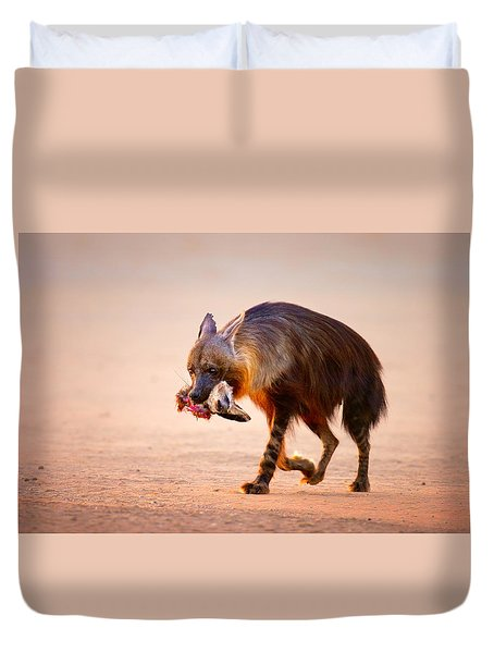 Brown Hyena With Bat-eared Fox In Jaws Duvet Cover