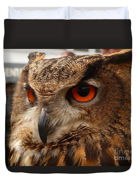 Duvet Cover featuring the photograph Brown Owl by Vicki Spindler