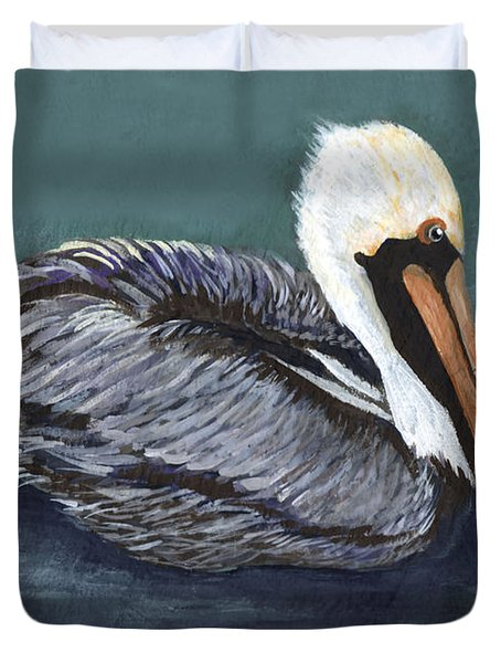 Brown Pelican On Water Duvet Cover by Elaine Hodges
