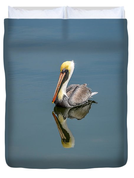 Brown Pelican Reflection Duvet Cover by Debra Martz