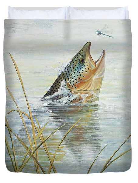 Brown Takes Damsel  Duvet Cover by Rob Corsetti