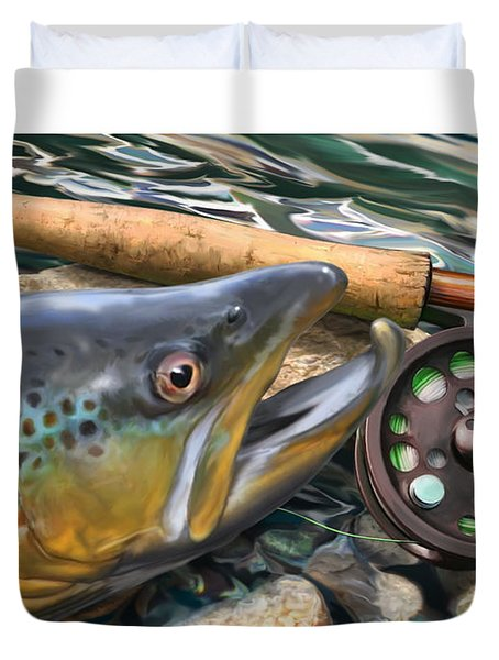 Brown Trout Sunset Duvet Cover