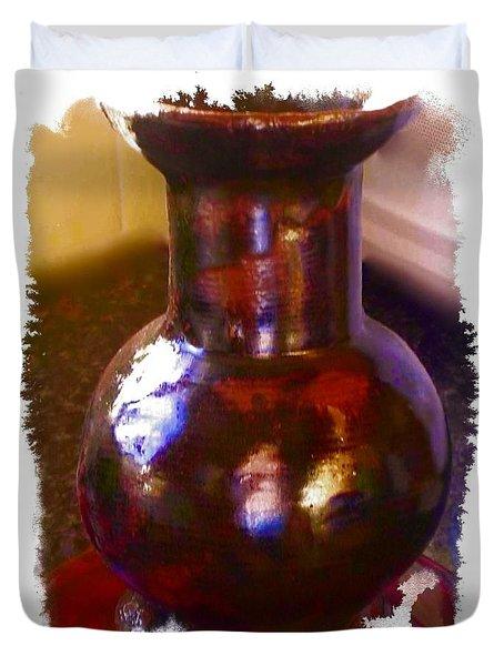 Brown Vase Design Duvet Cover by Joan-Violet Stretch