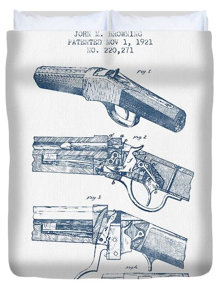 Browning Rifle Patent Drawing From 1921 -  Blue Ink Duvet Cover