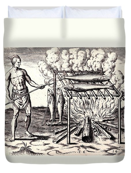Duvet Cover featuring the drawing Broylinge Their Fish Over The Flame by Peter Gumaer Ogden