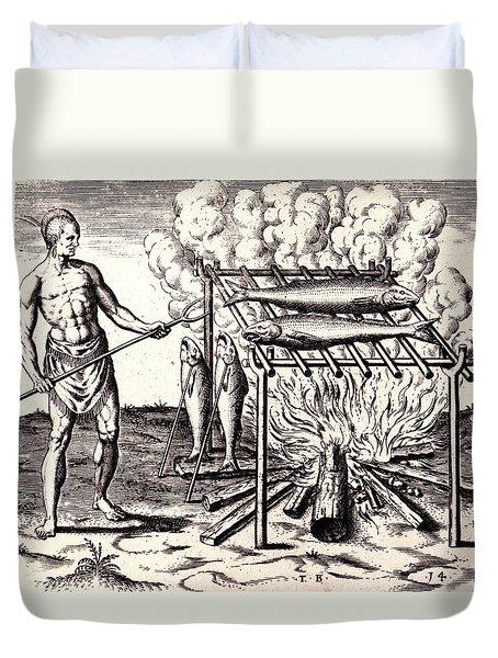 Broylinge Their Fish Over The Flame Duvet Cover by Peter Gumaer Ogden