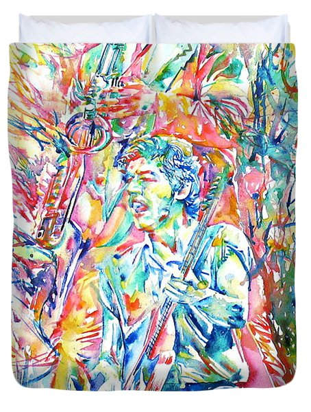 Bruce Springsteen And Clarence Clemons Watercolor Portrait Duvet Cover