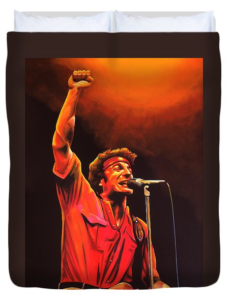 Bruce Springsteen Painting Duvet Cover by Paul Meijering