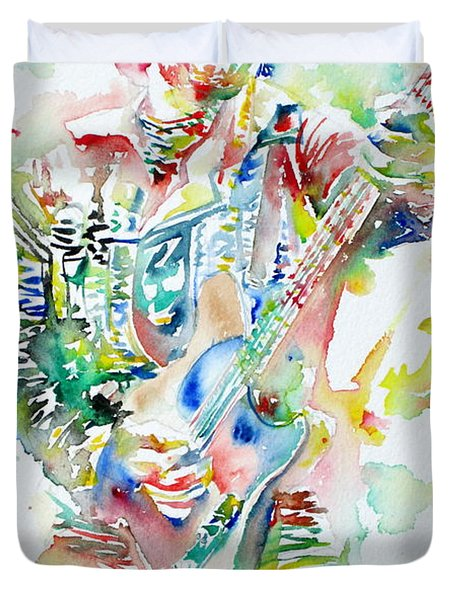 Bruce Springsteen Playing The Guitar Watercolor Portrait Duvet Cover