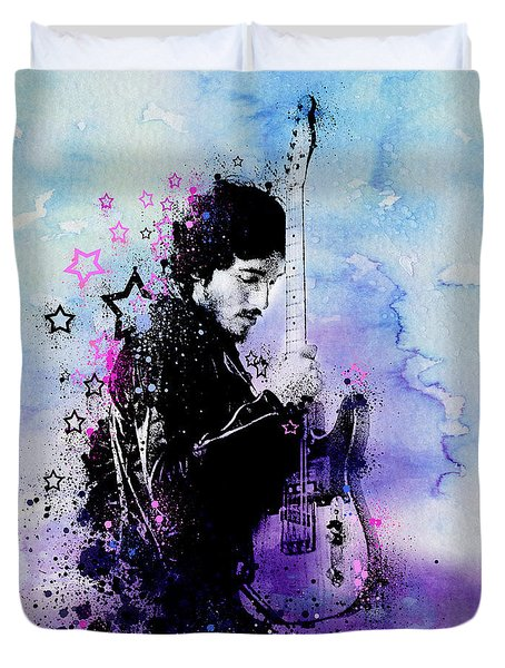 Bruce Springsteen Splats And Guitar 2 Duvet Cover by Bekim Art
