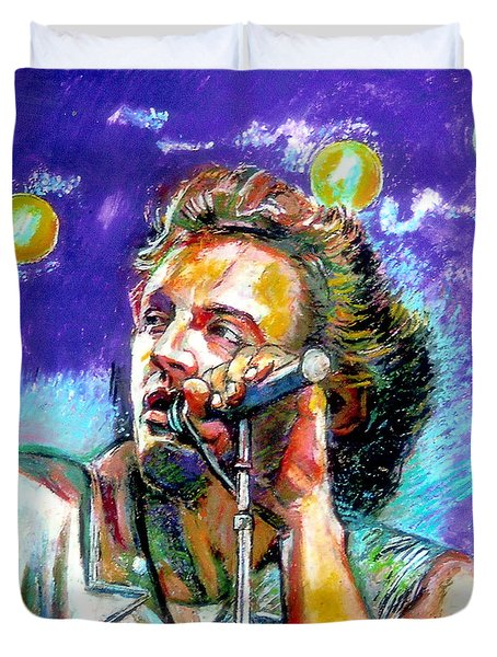 Duvet Cover featuring the painting Bruce Springsteen by Stan Esson