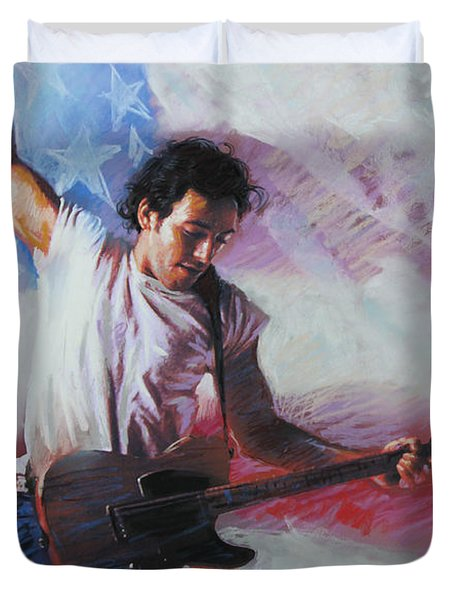 Bruce Springsteen The Boss Duvet Cover by Viola El