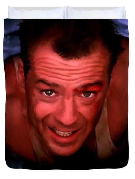 Bruce Willis In The Film Die Hard - John Mctiernan 1988 Duvet Cover