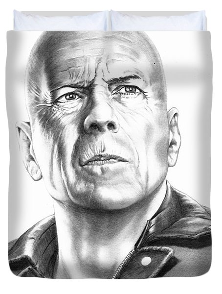 Bruce Willis Duvet Cover by Murphy Elliott